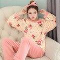 Новый Список Взрослых Фланелевую Пижаму Устанавливает mujer Взрослых Мультфильм Толстые Теплые Женщины Пижамы Наборы Пижамы Для Женщин Пижамы Зимой