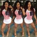 Женщины Краткости лета пляж майка dress 2017 Американский Флаг печать белая сексуальная клуб повязки партии платья Плюс размер женщин одежда