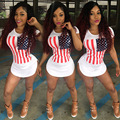 Women summer Short beach t shirt dress 2017 American Flag Print white sexy club bandage party dresses Plus size women clothing