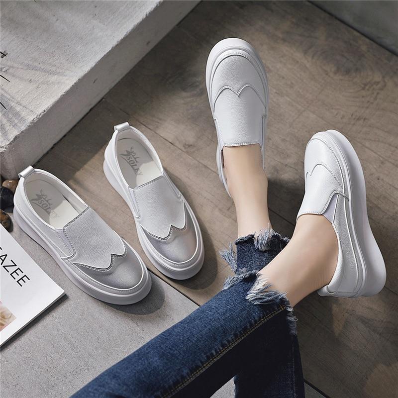 Plate Chaussures Simple Plates Automne Confortable Respirant Couleur Femmes Nouvelle 2018 Mode forme Correspondant Rétro Casual 6wYTzqnH