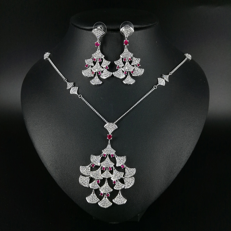 2019 new fashion elegant red ginkgo leaf cubic zirconia necklace earring set,wedding bride dinner party formal jewelry set