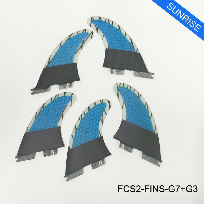 Surfing FCS2 G3+G5/G7+G3 Fins Blue,Green,Orange Tri-Quad Surf Fins in Surfing FCSII 5 Fins Free Shipping blue fins starter level cd rom