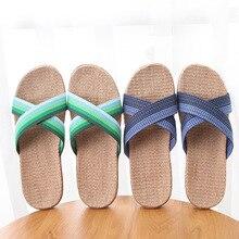 цены HRFEER 2018 Summer Men Slippers Flax Home Slipper Lightweight Cross Belt Silent Sweat Indoor Slippers Men Sandals Big Size