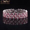 Fashion CWW Brand Zirconia Jewelry Platimum Bracelet Luxury Ruby Red CZ Simulated Diamond Wedding Bracelets For Bride CB139