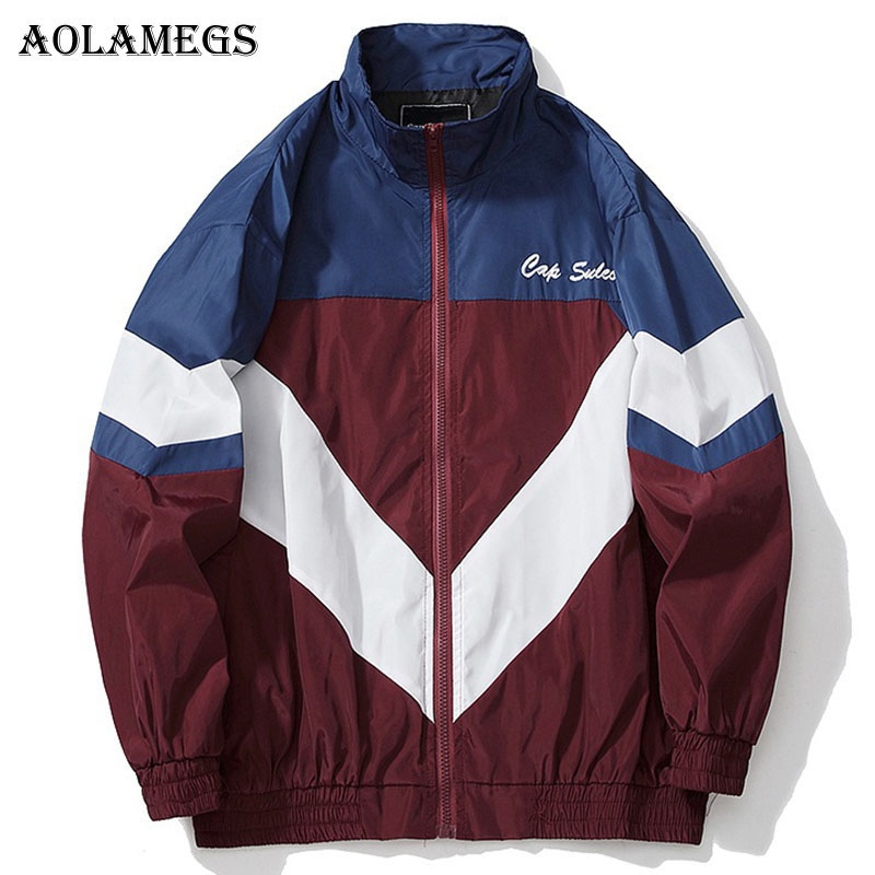 Aolamegs Jackets Men Letter Patchwork Jacket Loose Tracksuit Fashion High Street Coats Hip Hop Male Autumn Windproof  Streetwear