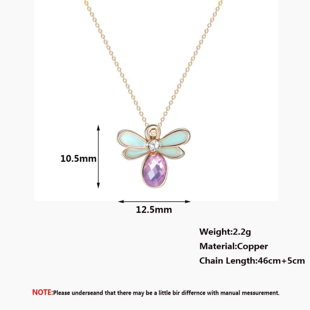 紫色の石蜂 Neckalce 素敵なミツバチ昆虫ファッションゴールドステートメントジュエリーチェーンチョーカーネックレス甘い女性ベビーギフト
