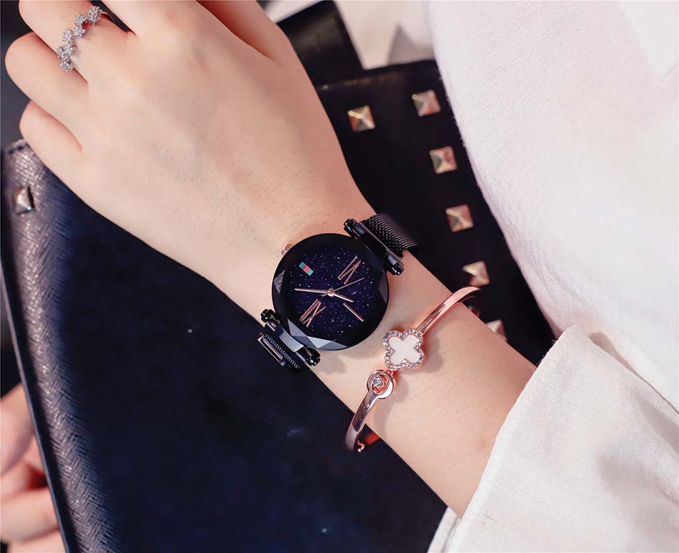 Luxury Rose Gold  Women Watches Minimalist Starry Sky Magnet Buckle Ladies Watch Fashion Casual Female Waterproof  Wristwatch (4)