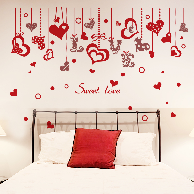 [SHIJUEHEZI] Love Wall Sticker Red Color Sweet Love Curtains Pattern Wall Art Decal for Kids Rooms Living Room Decoration