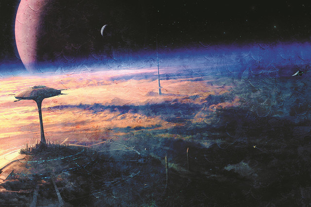 [6ML] Plongée dans l'Empire [Grail] 182-Art-space-city-of-the-future-planet-moon-orbit-space-ships-clouds-Print-On-Canvas.jpg_640x640