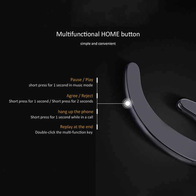CBAOOO Bluetooth Earphone Wireless Headset Handsfree Ear Hook Waterproof Noise reduction with Mic for Android iPhone