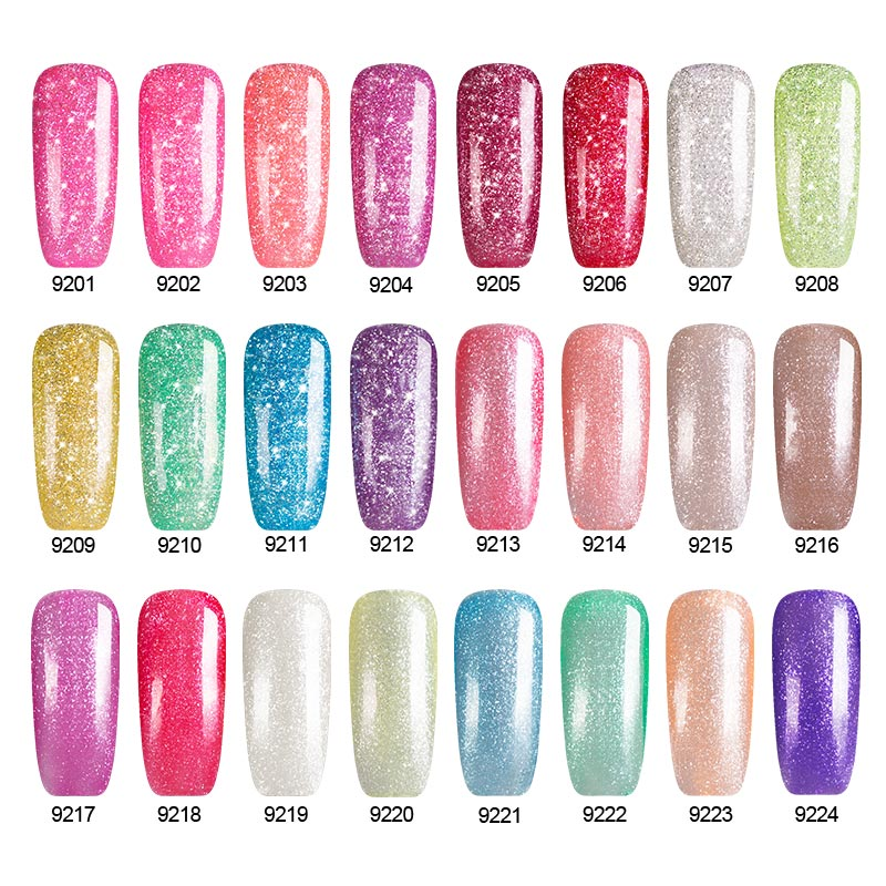 Sexy Mix Beauty Profeesional UV Glitter Gel Nail Manicure 9ML Nude Pink Colors Polish Shining Color In From Health
