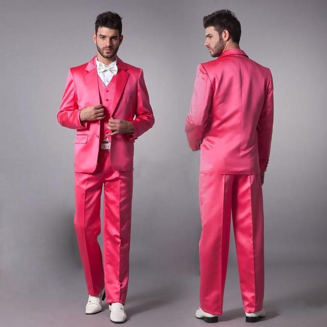 Rosa caliente novio smoking hombres Trajes para la boda jacket + ...