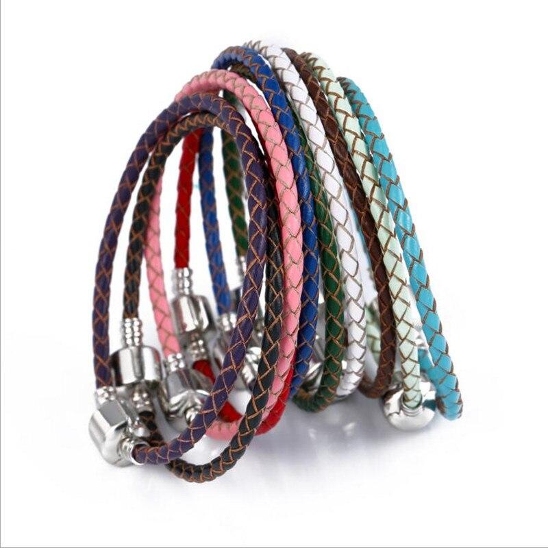 3mm Braided Cow Leather Bracelet Cord Pando Bracelets fit Charm Bracelet for Women Jewel ...