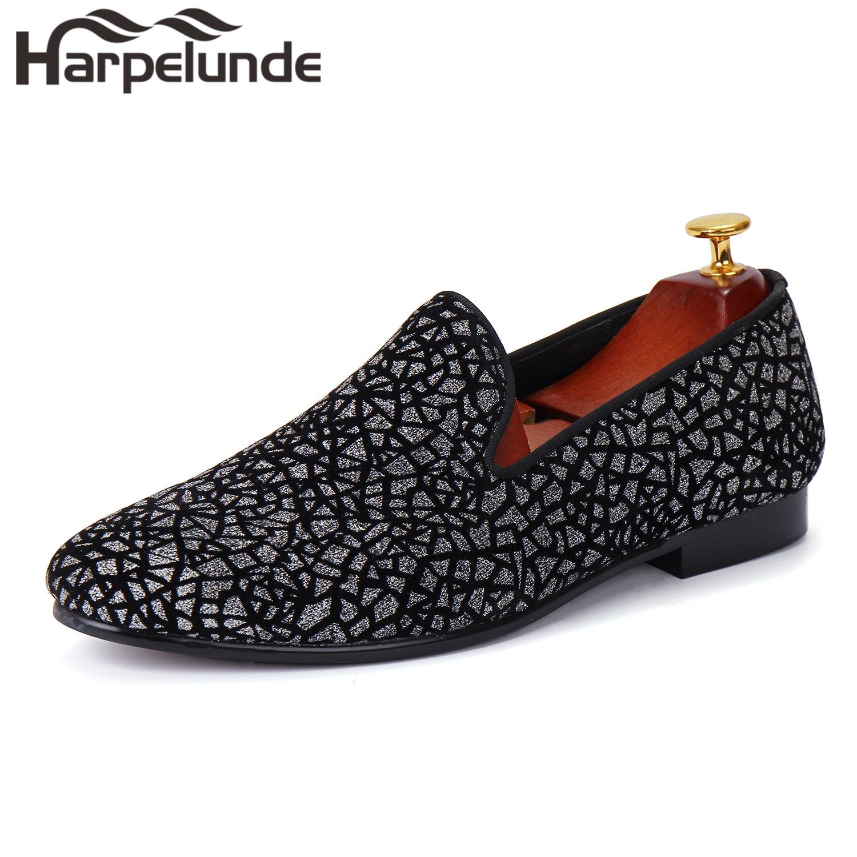 Harpelunde Men Fashion Dress Shoes Glitter Velvet Flat Loafers Size 8-13