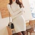 Новая зимняя длинными рукавами свитер толщиной пакет хип тонкий был тонкий плотный свитер платье нижнего платья прилив доставка