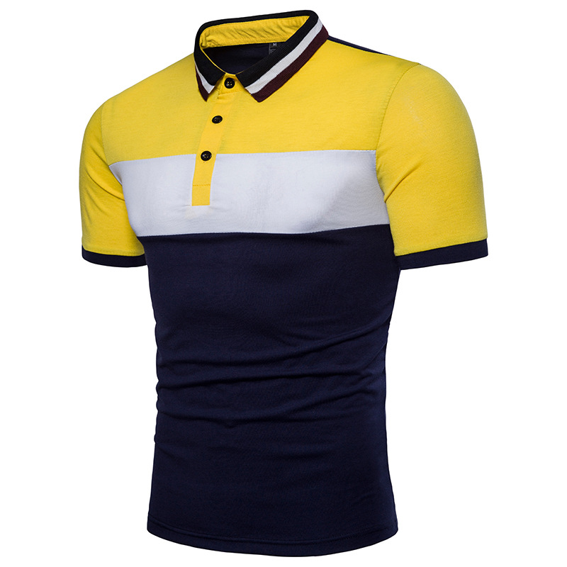 Short-sleeved men's   polo   shirt contrast color stitching Slim fit cotton   Polo   shirt men's casual office   polo   shirt new 2018 B07