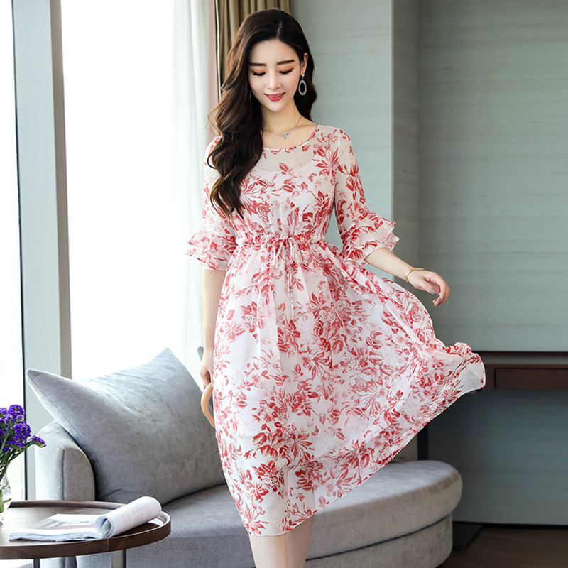 2018 Весна и лето новое женское шелковое платье с принтом высокого качества длинный абзац большие качели платья YX9990