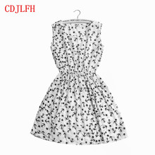 CDJLFH Summer Women Sexy Chiffon Dress Beach Floral Tank Fashion Dresses S M L XL XXL