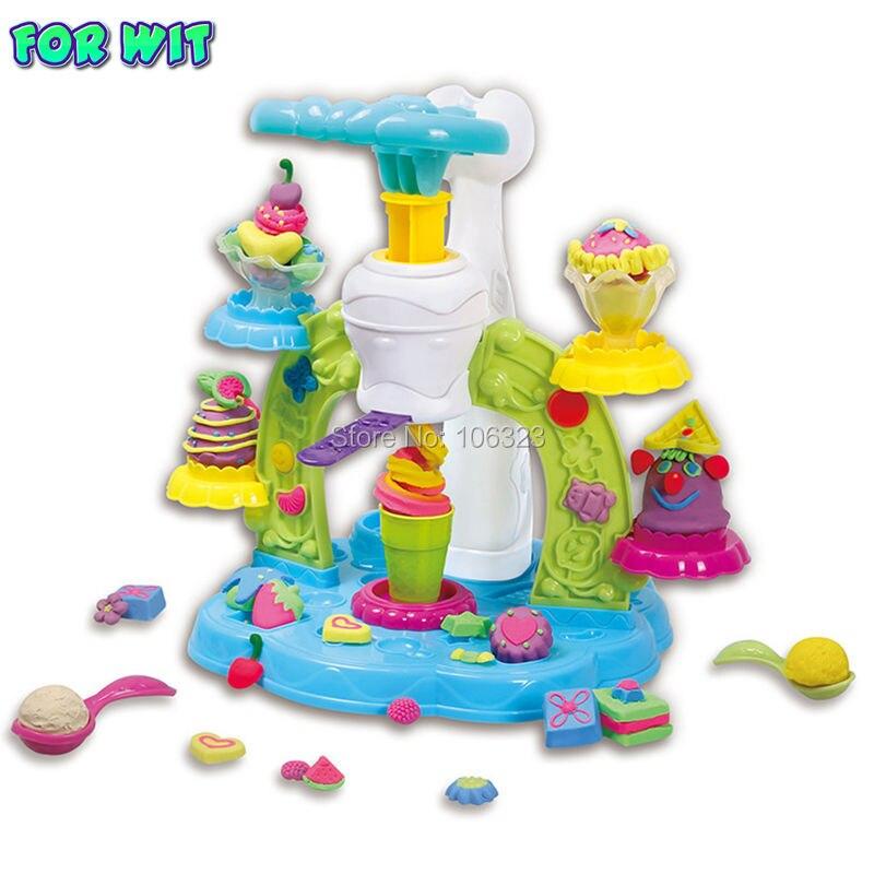 Nuevo estilo pastelería creativa colores pasta crear y de torbellino helado plastilina juguetes de formación de capacidad
