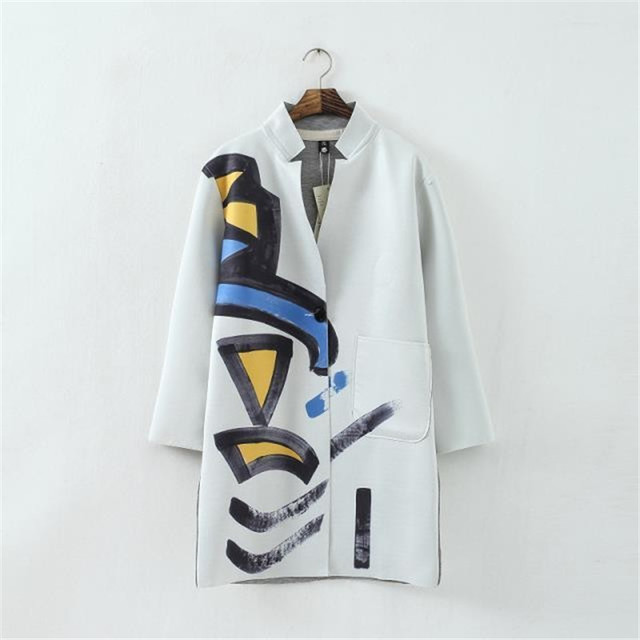 Women Trench Coat Fashion Cotton V-NeckWomen Clothing Autumn Winter Coat Plus Size Scrawl Printed Noble Elegant Ladies