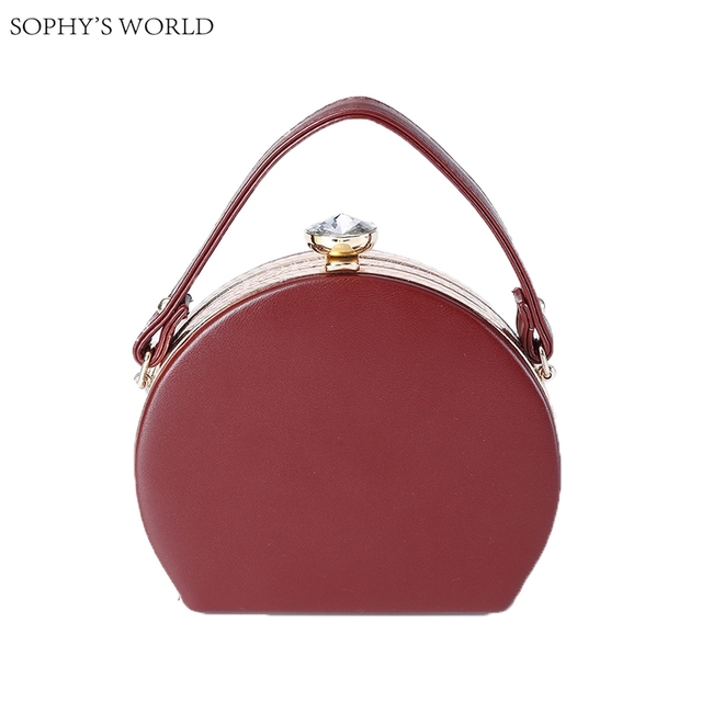 New Vintage Style Leather Women Evening Bags Round Hard Clutch Tote Handbag Diamond Hasp Mini Female