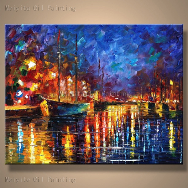 Beautiful oil painting nice autumn landscape river cross ...