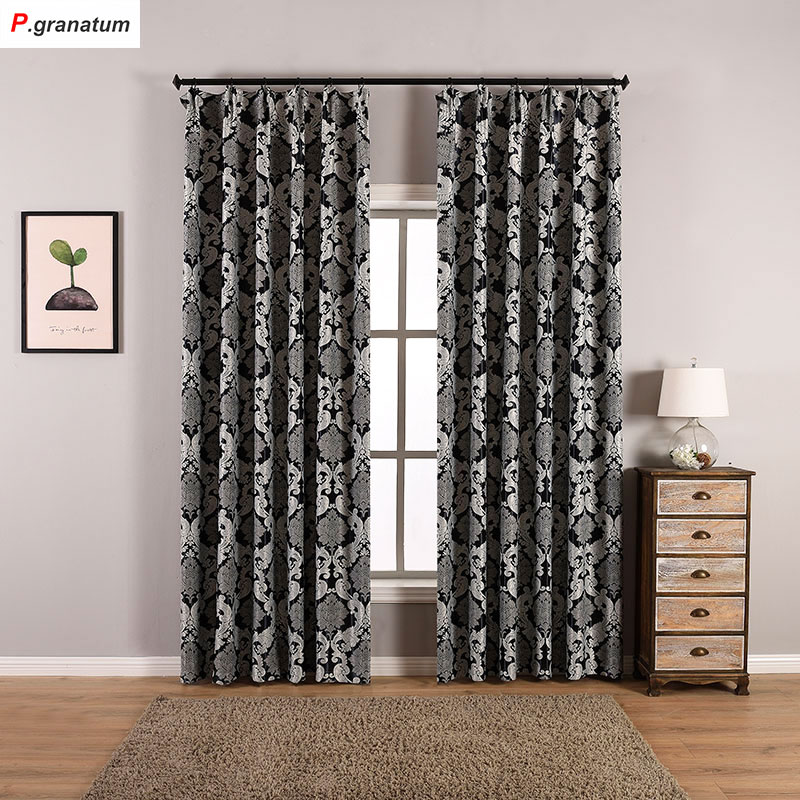 Single Panels Blackout Curtains For Bedroom Home Window Decoration Jacquard Fabric Black Europe