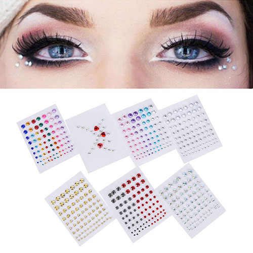 Tattoo Diamant Make-Up Eyeliner Oogschaduw Gezicht Sticker Jewel Ogen Make Kristal Ogen Sticker