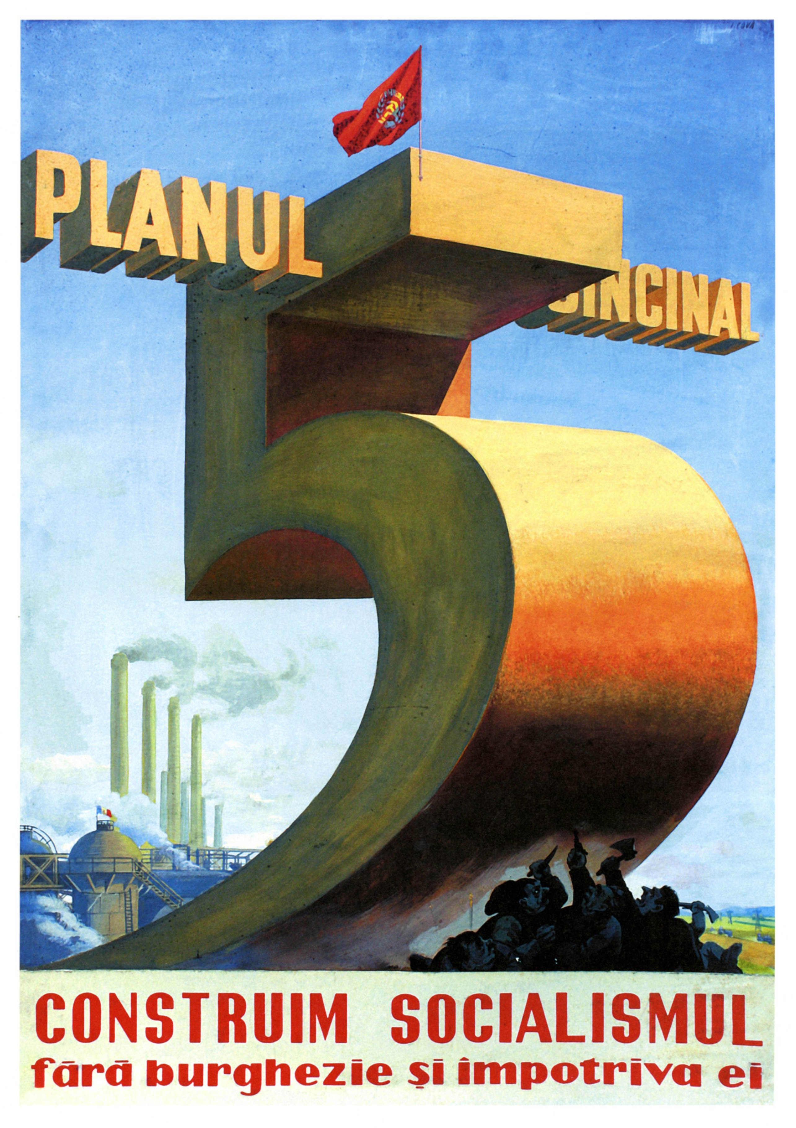 Vintage Cold War Propaganda Poster The 5 Year Plan Classic