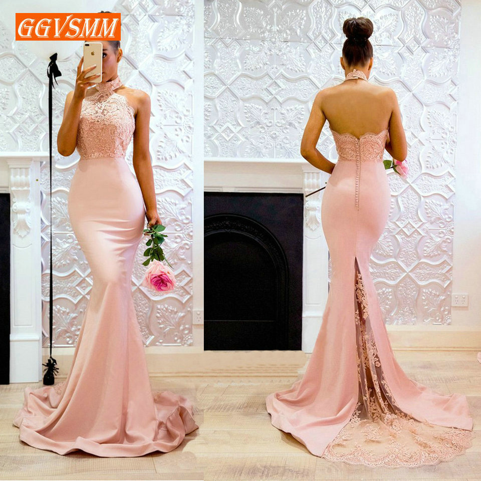 Sexy Pink Mermaid Evening Gowns 2018 Cheap Evening Dresses Long Halter-Neck Elastic Satin Appl;iques Lace club Women Party Dress(China)