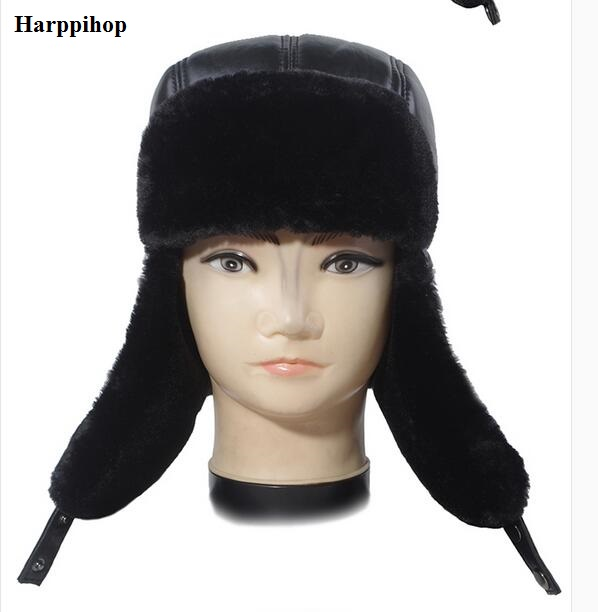 Winter Hat Men fauxLeather Snow Leifeng Hats Russian Male good quality faux fur warm Fur Hat fur with solid Ears genuine Cap new russia fur hat winter boy girl real rex rabbit fur hat children warm kids fur hat women ear bunny fur hat cap