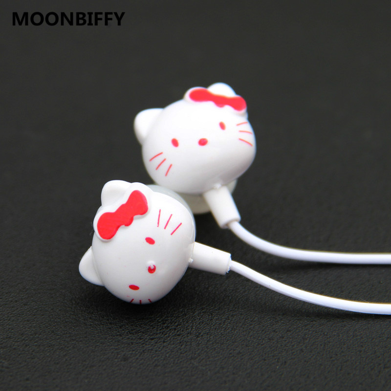MOONBIFFY Cute Hello Kitty Cartoon In-Ear 3.5mm Earphone For Cell Phone Ipod For Samsung MP3 MP4 Mobile Good Quality Wholesale cute cartoon cat claw style in ear earphones for mp3 mp4 more blue white 3 5mm plug