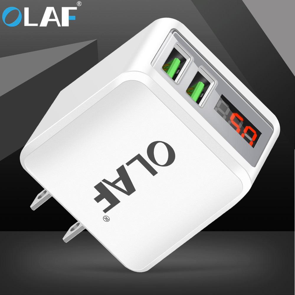OALF LED Display US Plug 2 Ports USB Charger Fast Mobile Phone Charger Adapter Charging For iphone X 7 Samsung S8 Xiaomi Phone
