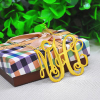 2 Monogram Necklace Golden Initial Pendent Personalized Big Statement Jewelry Hip Hop