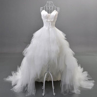 2014 Hot Selling Sweetheart Beaded Feather Princess Wedding Dresses High Low Tulle Bridal Gowns Size 4