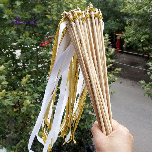 50pieceslot fashion wedding gold glitter white ribbon wands wedding stick wedding confetti for wedding