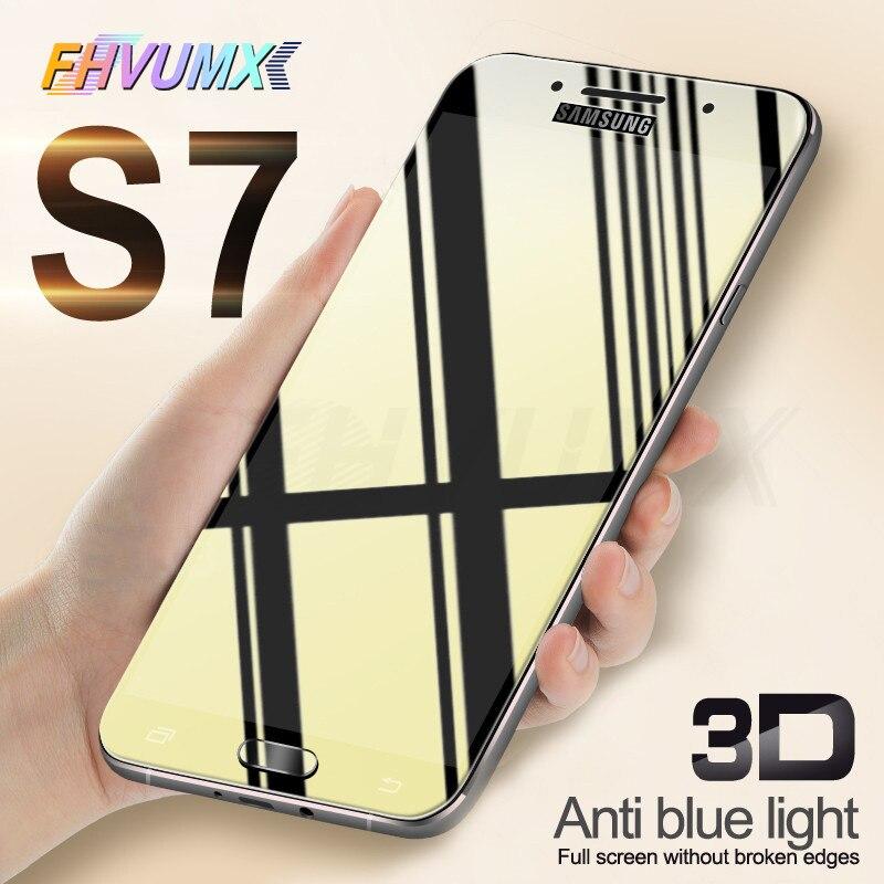 Verre de protection 3D sur le pour samsung galaxy A3 A5 A7 J3 J5 J7 2016 2017 couvercle en verre S7 film de protection d'écran trempé
