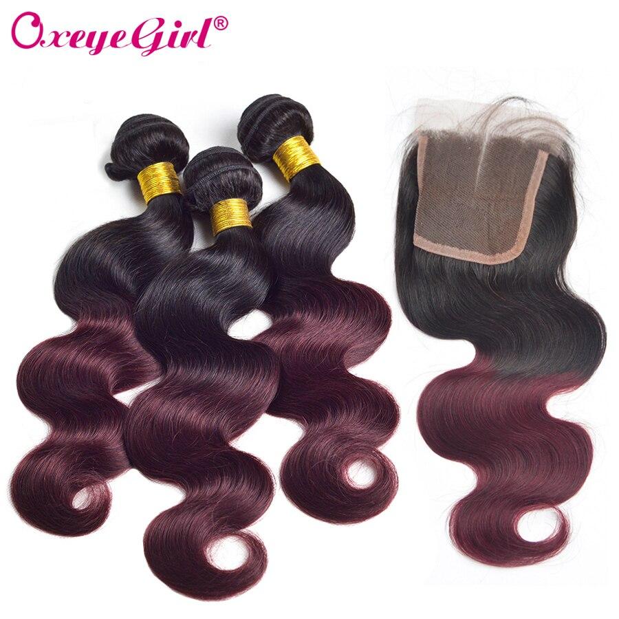 Ombre Bundles With Closure Body Wave Bundles With Closure Burgundy Bundles With Closure Brazilian Hair Non