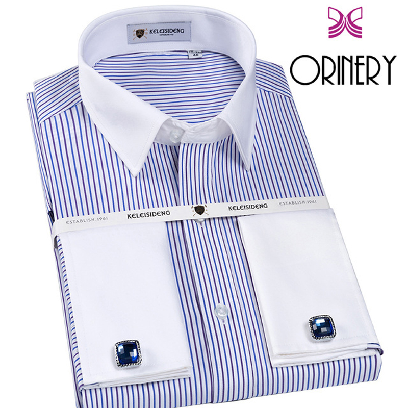 ORINERY 2018 New Designer Mens Dress Shirt 100% Cotton Long Sleeve French Cuff With Cufflinks Wrinkle Free Tuxedo Wedding Shirt