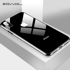 Eqvvol Plating Tempered Glass Phone Case For iphone XS Max XS XR X 8 7 Plus