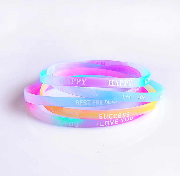 5 шт. женский силиконовый браслет Lucky Letter Спортивный Повседневный Браслет ремешок подарки для девочек светящийся резиновый браслет аксессуары