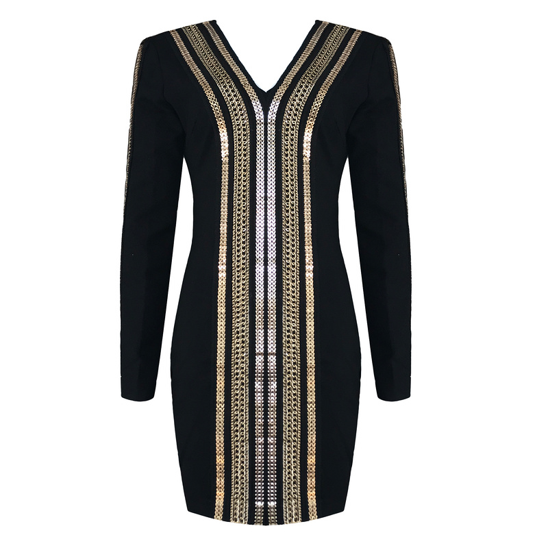 2017 Women Long Sleeve Bandage Dresses Black Studded Beaded Bandage Dress Bodycon Deep V Neck Dress HL Wholesale club style one shoulder black long beaded sleeve dress for women