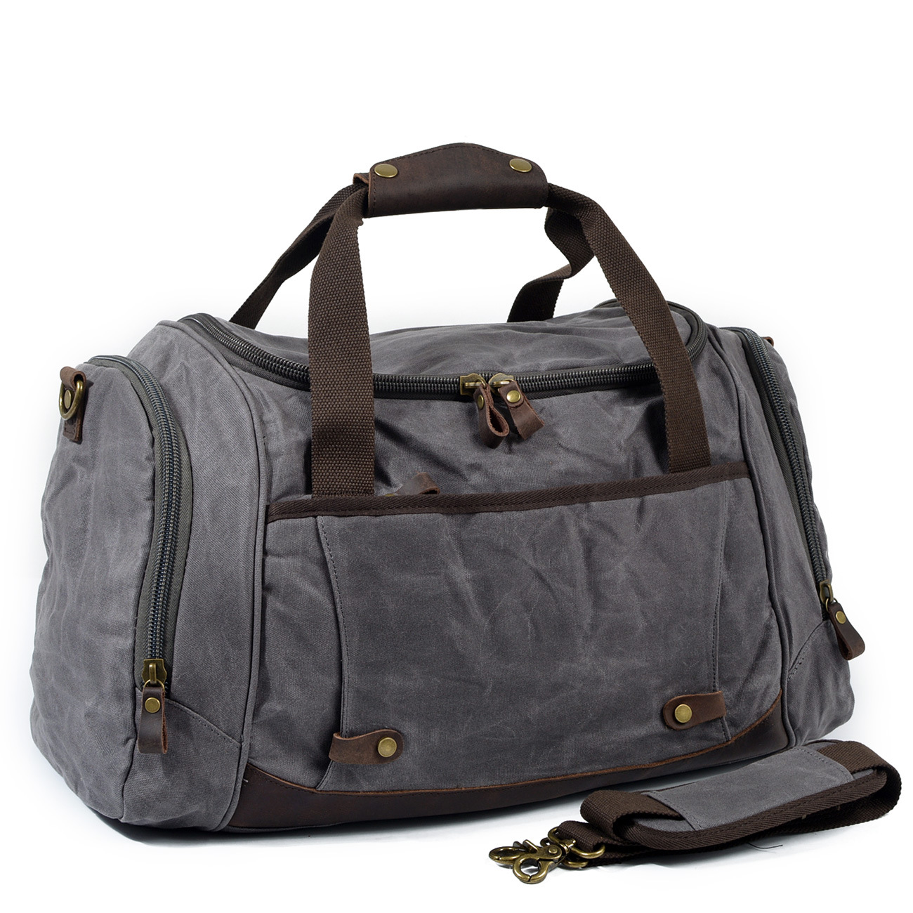 Man Waxed Canvas Leather Men Travel Bags Carry on Luggage Bags Men Duffel Bags Travel Tote Large Weekender Bag Overnight