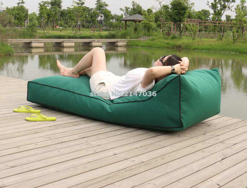 цена на Long beach bean bag chair, waterproof beanbag sofa seat, outdoor comfortable bean lounger, cover only