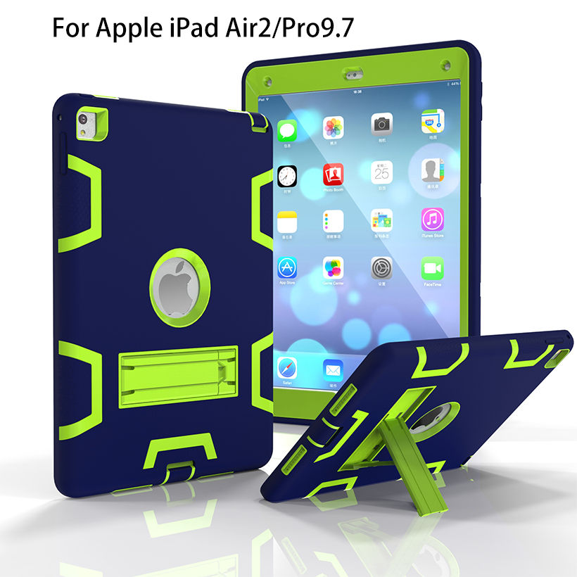 Armor Case For Apple iPad Air 2 / Pro 9.7 Cases Back Cover Tablet Rubber+PC Shockproof Hybrid Heavy Duty With Kickstand Funda official original 1 1 case cover for apple ipad pro 12 9 2017 cases tpu smart clear cover for ipad pro ipad plus 12 9 2015 case