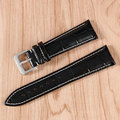 18 20 22mm Negro/Brown/Dark Brown Genuine Leather Band Reemplazo En Relieve Correa Correa de Reloj de Pulsera + 2 Barras de Resorte