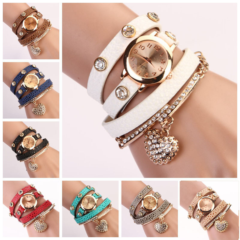 Hot koop fashion luxe kraal hanger horloges armband horloge vrouwen PU lederen analoge dames quartz horloges # 210717