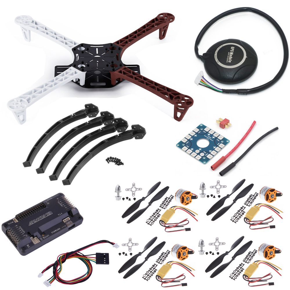 DIY F450 Quadcopter Rack Kit Frame APM2.6 Flight controller and 7M GPS A2212 1000KV brushless motor 30A ESC 1045 Props(4pairs) diy multirotor drone flight control kit apm 2 8 flight controller m8n gps black shell for f450 f500 f550 quadcopter