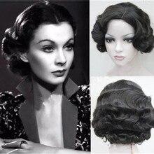 20s mujeres Retro dedo corto ondulado pelucas con clase Vintage ondulado-estilo Cosplay Peluca de Halloween Headwear con 9 colores