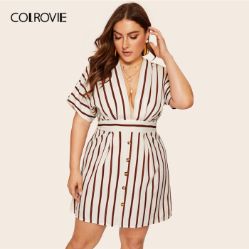 COLROVIE Plus Size Beige Deep V-Neck Striped Dress Women 2019 Summer Boho Short Sleeve A Line Office Ladies Fit And Flare Dress